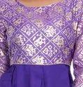 Purple Foil Printed Rayon Kurti