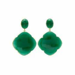 Green Onyx Clover Shape Gemstone Gold Drop Earrings