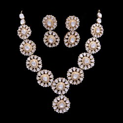 Traditional Moissanite Polki Necklace Gold over Silver Jewellery