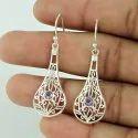Carnelian Gemstone Silver Earrings