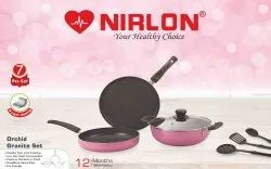 Nirlon Granite Orchid Pink Cookware Gift Set  Nonstick Cookware Set 7-Piece