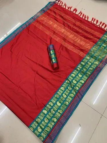 Women''s Jacquard Weaving Border Cotton Silk Saree