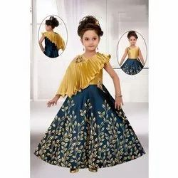 Synthetic Party Wear Designer Kids Gown, XL, XXL