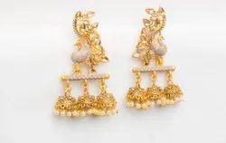 Casual Wear Golden Fancy Peacock Design Earrings