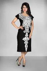 Women Black Cotton Embroidery Dress