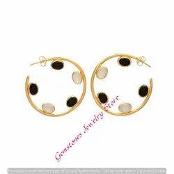 Milky Chalcedony & Black Onyx Gemstone Earring