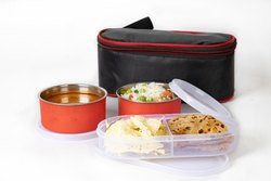 Stainless Steel 2 Container and 1 Casserole Set with Plastic Bottle Microwave-safe Lunch Box