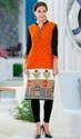 Victoria Orange And Off White Cotton Printed Kurti