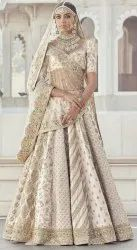 Cream Silk Lehengas