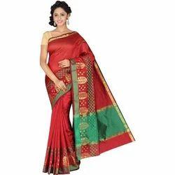 Party Wear 6.3 Meter Banarasi Silk Red Sarees, With Blouse Piece