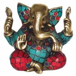 Brass Kaan Ganesha With Gemstone Work