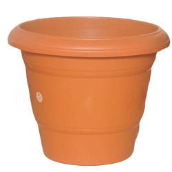 Brown Plastic Round Flower Pot