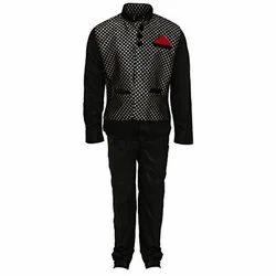 Black Base Cotton Men's Party Wear Suit
