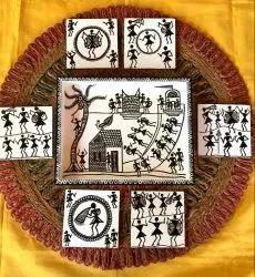 Worli Design Wooden Tray With Tea Coasters, Size: 8x10x1