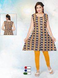 Printed A Line Rayon Sleeveless Kurti