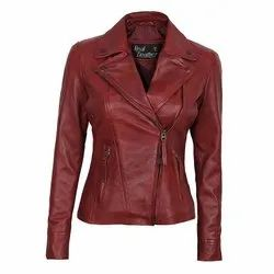 Full Sleeve Plain Ladies Brown Leather Jackets, Size: free