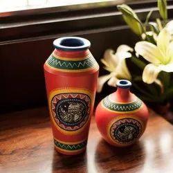 Multicolor Hand Building Decorative Terracotta Flower Pots, For Interior Decor