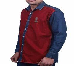 Maroon Cotton And Denim Men Casual Cotton Denim Shirt