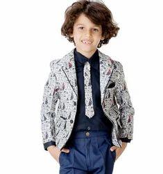Grey Boy Printed Blazer
