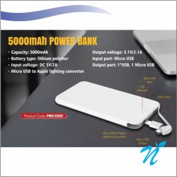5000 mAh Leather Finish Power Bank
