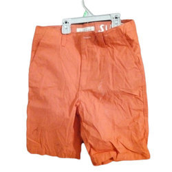 Casual Wear Plain Kids Orange Short