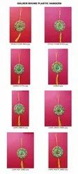 Golden Decorative Round Hangers With Diwali Pictures