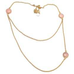 Double Chain Pink Chalcedony Necklace