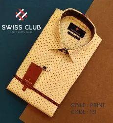 Fine Cotton Swiss Club Men's Formal Yellow Printed Shirt