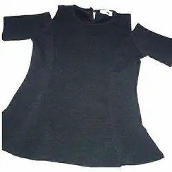 Cotton Plain Ladies Black Long Top