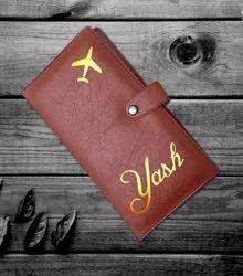 Brown & Black Kataria Studio Personalized Passport Covers, Pure Leather: No