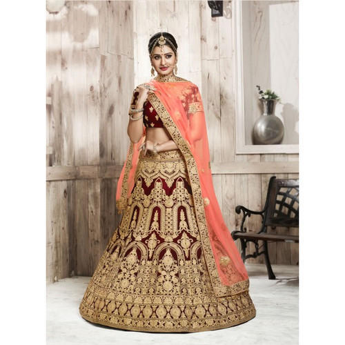 2013519dcc Semi-Stitched Coffee Bridal Wellvet Wine Ghagra Choli Lehengas, Rs ...