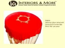 Interiros & More Round Table Top 120cm Velvet With Centre And 4 Corners Dgn