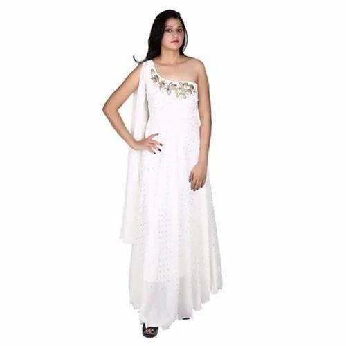 c4b304a52251 Off White One Shoulder Indo Western Dress