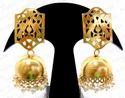 Kumar Jewels Jhumki -circle Shape Golden Filigree Mogul Earrings