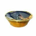 Shallow Round Cane Basket