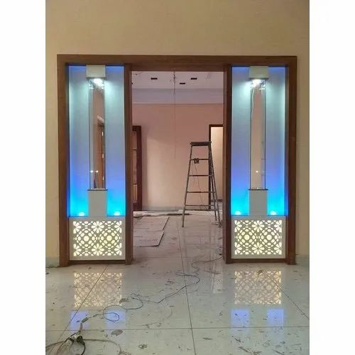 Glass And Wooden Designer Wall Decor Partition Rs 30000 Box Magnet Kitchen Interiors Id 21130274762