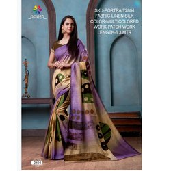 Rachna Linen Silk Patch Work Portrait Catalog Saree For Women 4