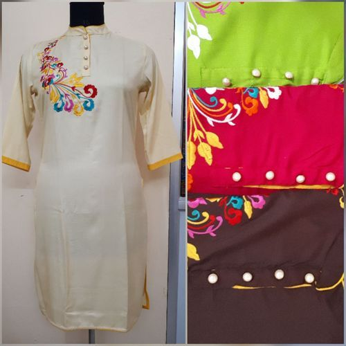 Stand Collar Designs For Kurti : Xxl and large stand collar embroidery kurti rs piece