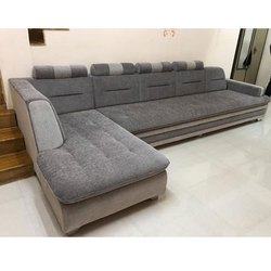 Solid Wood Fabric L Shaped Sofa