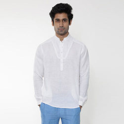 White Mens Kurta Shirt