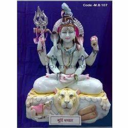 Colored Shankar White Makrana Marble Statue