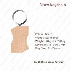 Wooden Keychain-KC-16-Disco Wood Keychain