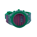 Childrens Green & Pink Color Stripes With Blinking Light Lcd Digital Wrist Watch