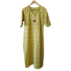 Casual wear Semi-stitched Long Printed Cotton Kurti, Size: S to XXL