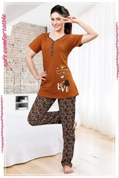 Multicolor Female Ladies Night Suit Top and Bottom Wear, 18-55