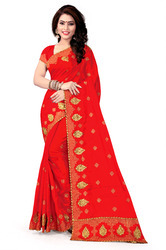 Self Design Silk Red Saree
