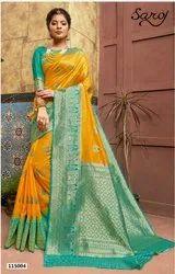 Yellow Color Banarasi Silk Border Pallu Saree