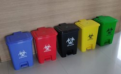 Foot Operated Biohazard Waste Bin  (Mask & Gloves)