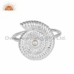 Pearl Gemstone Spiral Shell Design Fine Silver Rings
