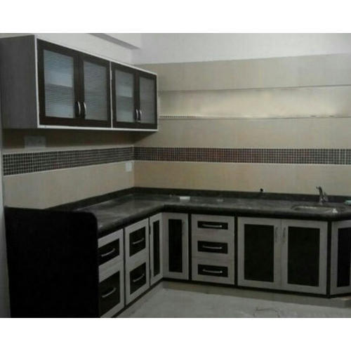 Modern Black, White PVC Modular Kitchen